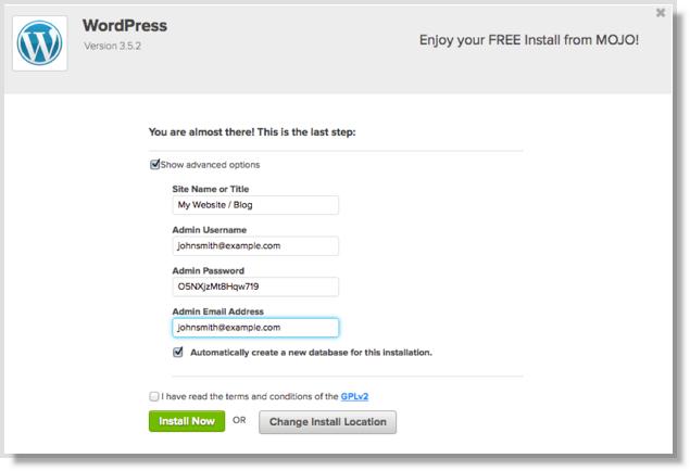 BlueHost WordPress installation step 4